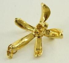 Vintage Costume Jewelry Gold Tone Pendant Brooch Pin African Orchid Flower