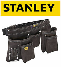 STANLEY Buffalo Dark Tan Leather Hand Tool Apron With Twin Buckle Belt, 180113