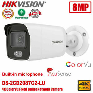Hikvision DS-2CD2087G2-LU 4K 8MP ColorVu AcuSense POE Bullet Network IP Camera