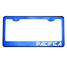 Blue Chrome License Plate Frame PACIFICA Laser Etched Metal Screw Cap