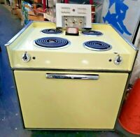 VINTAGE GE GENERAL ELECTRIC Built-in OVEN RANGE STOVE COOK TOP YELLOW ATOMIC MCM