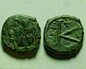 Rare genuine Ancient Byzantine Coin JUSTIN II & Sophia 565 AD 1/2 follis K cross