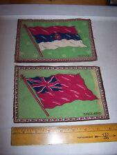 Vintage Antique Felt Cigar Box Flags Servia & England