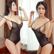 Womens See Through Babydoll Bodysuit Lingerie Nightwear Sleepwear Teddy Jumpsuit