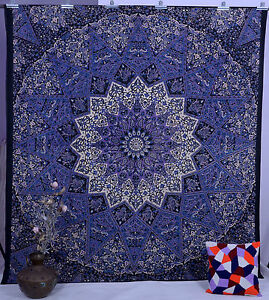 Indian Black Star Hippie Mandala Psychedelic Wall Hanging Queen Tapestry Throw