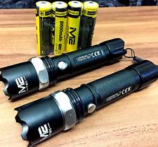 2x Polizei Swat Led Taschenlampe Cree 50 Watt Zoom inkl.4x PowerAkku + USB-kabel