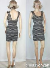 VTG 80s Mini Black Metallic Gold Sheer Net Lace Embroidery Body Con Party Dress