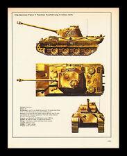 "VINTAGE 1978 ""GERMAN PZKW PANTHER HEAVY TANK  WORLD WAR II SPEC-SHEET"