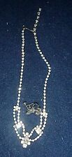 VINTAGE SILVER TONE R/S NECKLACE WITH DAINTY EARRINGS, EXCELLENT STONES, PRONGED