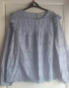 Florence And Fred Size 14 Pale Blue Frilled cap Shoulder Top. Broderie anglaise.