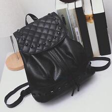 Girl School Bag Travel Leather Backpack Satchel Women Shoulder Rucksack Black