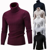 Men Turtleneck Warm Sweater Slim Fit Hedging Knitted Long Sleeve Pullover Top LO