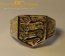 Men's Highly Polished England 3 Lions Jewellers Bronze Ring 11 grams Any Size
