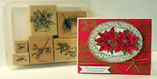 Stampin Up Winter Foliage set~ornamental pine Poinsettia~use with noble deer