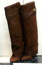 Givenchy Brown Suede Shark Lock Boots Foldover Wedge Heel Retail $2295
