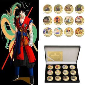 12X Gold Dragon Ball Z Münze Sun Wukong Vegeta Frieza In Geschenkbox