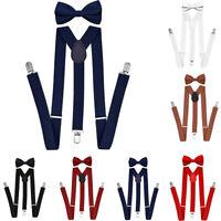 Unisex Adults&Kids Suspenders With Bowtie Set Adjustable Elastic Bow Tie