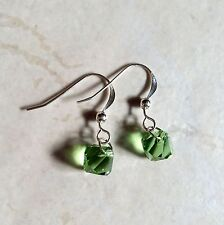 Handmade Swarovski 8mm Peridot Green Bicone Earrings on  S. Silver Ear Hooks
