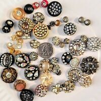 50+ RARE Vintage  BUTTONS W/RHINESTONES 1940's 50's 60's Assort Shapes & Sizes