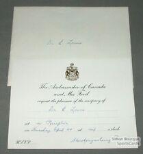1980s Team Canada Reception Invitation Ticket