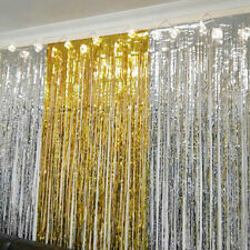 2m*1mmetallic Fringe Curtain Party Foil Tinsel Wholesale Room Door Wedding Home Gold