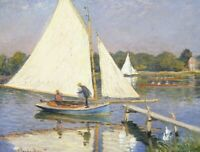 Claude Monet Boaters At Argenteuil Wall Art Canvas Print Giclee Repro Decor 8x10
