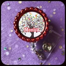 TREE OF LIFE PERSONALIZED Name Bottle Cap ID Badge Holder Lanyard Work Clip RN