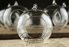 6 x  Hanging Clear Glass Bauble Tealight Candle Holder Table decoration  UK