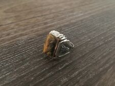 VINTAGE ART DECO STERLING SILVER TIGERS EYE INTAGLIO SOLDIER MENS RING SZ.8.5