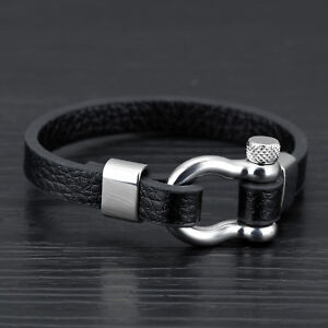 Men Stainless Steel Screw Anchor Shackles Nautical Sailor Leather Cuff Bracelet