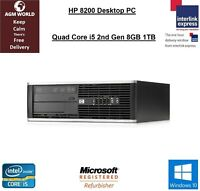 HP 8200 Desktop Quad Core I5-3470 3.20GHz 8GB 1TB DVD RW Windows 10 Computer PC