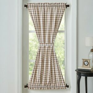 VHC Annie Brown Check Lined Cotton Country Farmhouse Cottage Gathered Door Panel