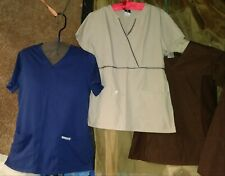 sz Xs Cherokee scrub tops Tan Brown Navy Htf styles lot of 4 A Great Bargain