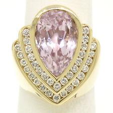 14k Yellow Gold Bezel Pear Morganite & Diamond Channels 8.05ctw Large Ring