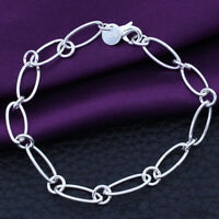 Fashion Bracelet Solid Jewelry Women For girl Silver Chain Girl gift