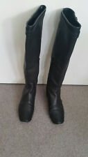 Scanlan and Theodore Buckle Trim Flat Knee High Boots Black Leather size 38