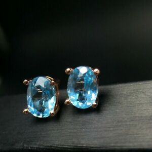Natural Aquamarine Earrings 925 Sterling Silver, 5*7MM, Rose Gold Plated