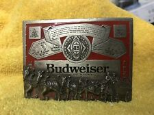 Vintage Budweiser Clydesdale Pewter and Enamel Belt Buckle Made In Usa T-169