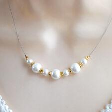 Perlenkette 925 Silber vergoldet MUSCHELKERN Perle weiß Kette Vintage d572
