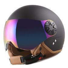 New 1Storm DOT Motorcycle Scooter Bike Open Face 3/4 Helmet Matt Black