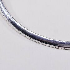 """16"""" 6mm, Vtg Italy 925 Sterling Silver omega chain necklace, Stamped 925 Italy"""