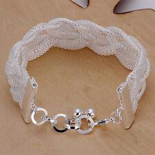 925 Stamped Sterling Silver Filled SF Web Wide Bracelet Bangle BL-A231
