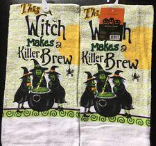 Set Of 2 Halloween Witch Brew Cauldron Spider Holiday Kitchen Hand tea Towels
