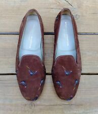 RARE Stubbs & Wootton Suede Pheasant Embroidered Smoking Slippers Loafers 10.5