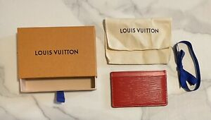 Louis Vuitton Epi Leather Cowhide Card Holder Wallet Rose Pondicherry M80109 Red