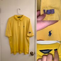 LSU Polo Mens Size L Polo Sport Yellow Collared Short Sleeve LSU Tigers