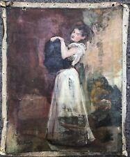 ROBERTY André Huile s/ Toile Portrait Jeune Fille Femme Robe Blanche Peinture