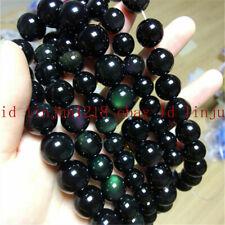 Natural Rainbow Black Obsidoan Round Gemstone Loose Beads 15'' 4-20mm
