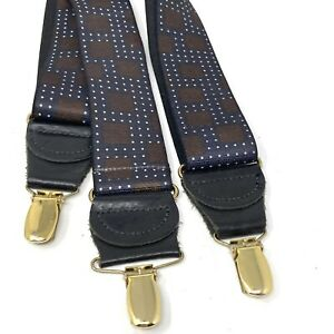 HoldUp Suspenders Y-Back Stretchy Black Brown Geometric W/ Leather/Gold Clasps