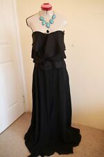CAMILLA AND MARC Black Pleated MAXI DRESS Size 8 BNWT NEW Long Strapless Luxe